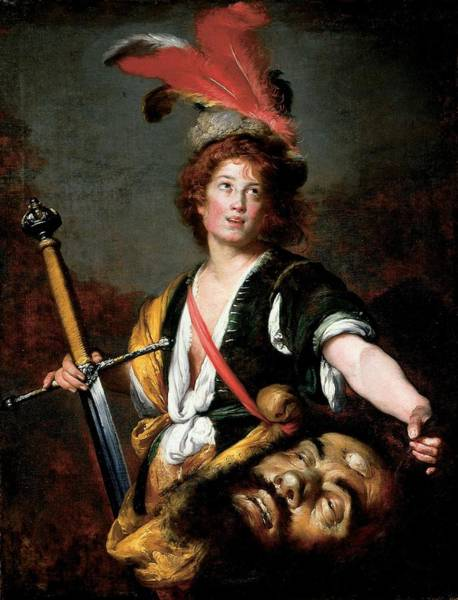 Plumage Photograph - David With The Head Of Goliath, C.1636 Oil On Canvas by Bernardo Strozzi