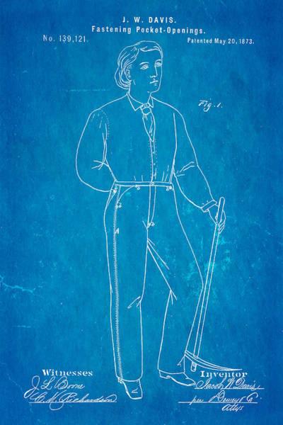 Tab Photograph - Davis Original Levi's Patent Art 1873 Blueprint by Ian Monk