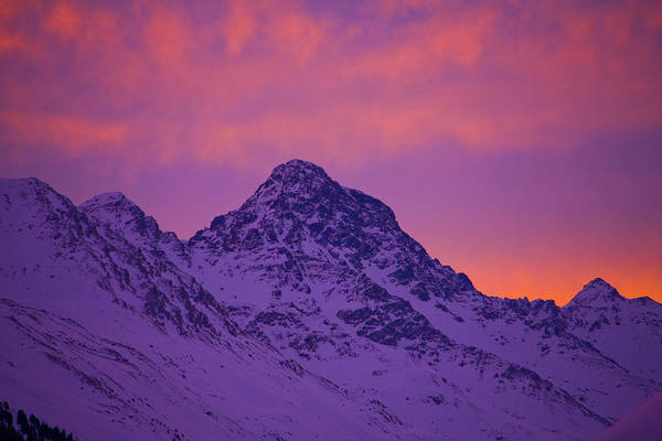 Photograph - Davos To Schwarzhorn Mountain At Dusk by Altrendo Nature