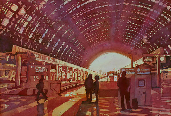 Platform Painting - Dawn At The Station by Jenny Armitage