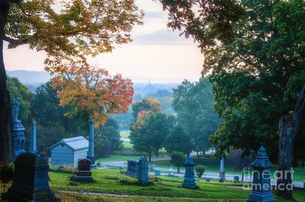 Photograph - Dawn At Woodlawn With Gravestones by Kari Yearous