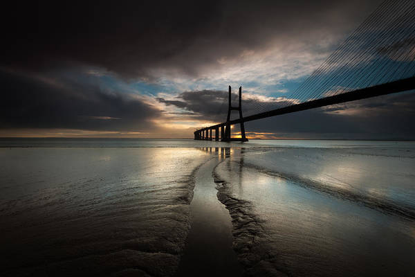 Vasco Da Gama Bridge Wall Art - Photograph - Dawn by Pedro Carmona Santos