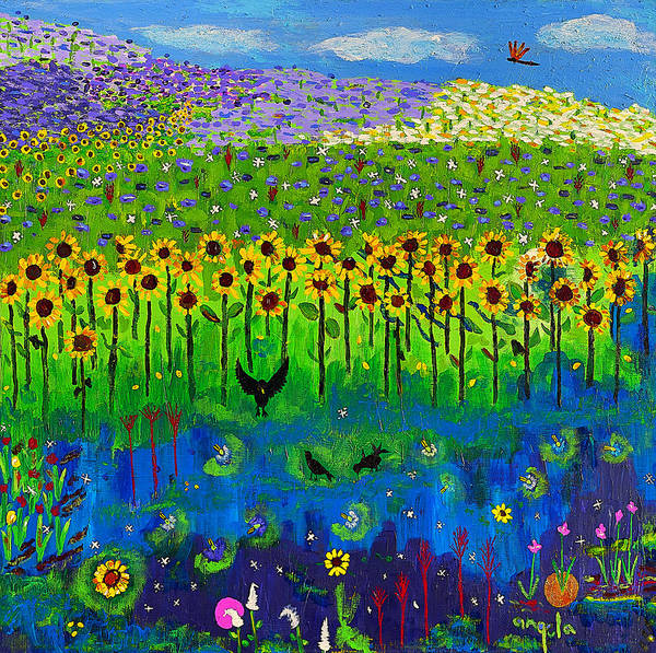 Blue Cornflower Painting - Day And Night In A Sunflower Field I  by Angela Annas