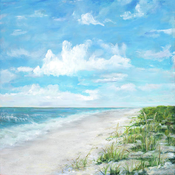 Wall Art - Painting - Day At The Beach Square by Julie Derice