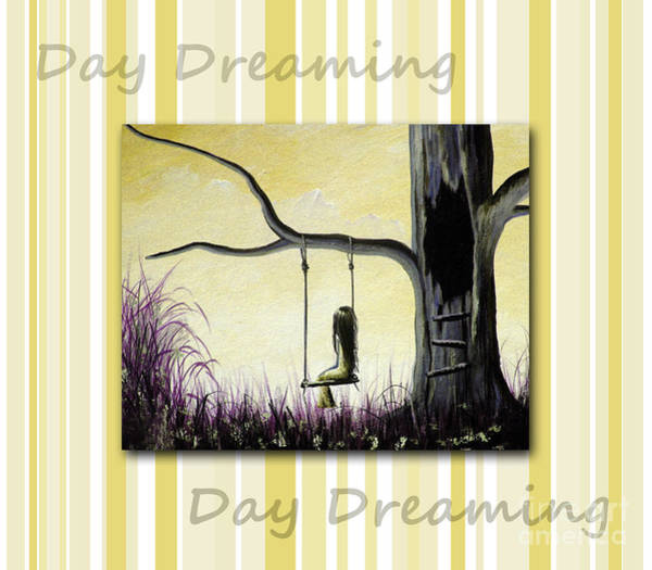 Faceless Painting - Day Dreaming In Yellow By Shawna Erback by Erback Art
