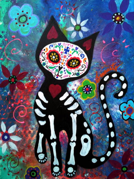 Dod Wall Art - Painting - Day Of The Dead Cat by Pristine Cartera Turkus