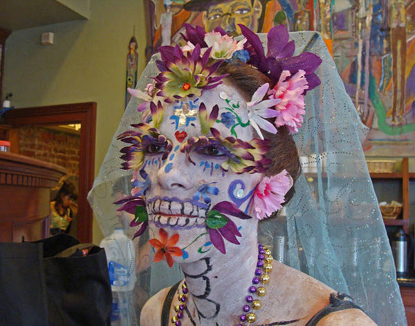 Photograph - Day Of The Dead Meets Mardi Gras On New Orleans by Louis Maistros
