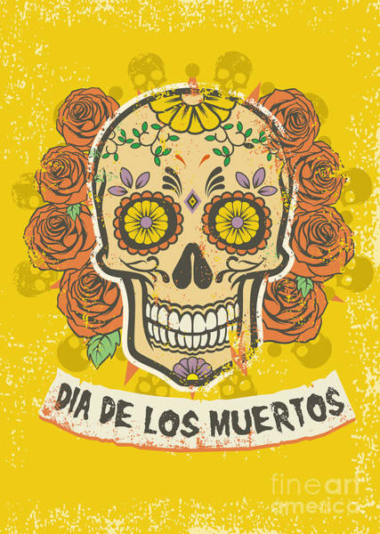 Celebration Digital Art - Day Of The Dead Poster by Bazzier
