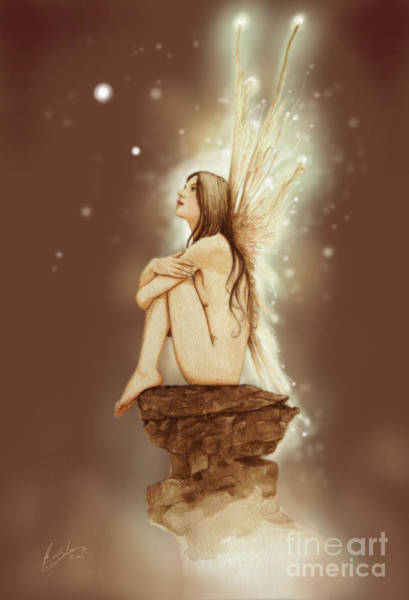 Sepia Painting - Daydreaming Faerie by John Silver