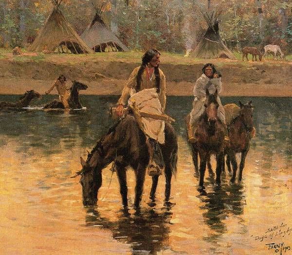 Indian Brave Digital Art - Days Of Long Ago Detail by Henry Farny