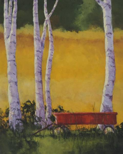 Red Wagon Painting - Days Remembered - Art By Bill Tomsa by Bill Tomsa