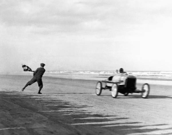 Checker Photograph - Daytona Beach New Year's Races by Underwood Archives