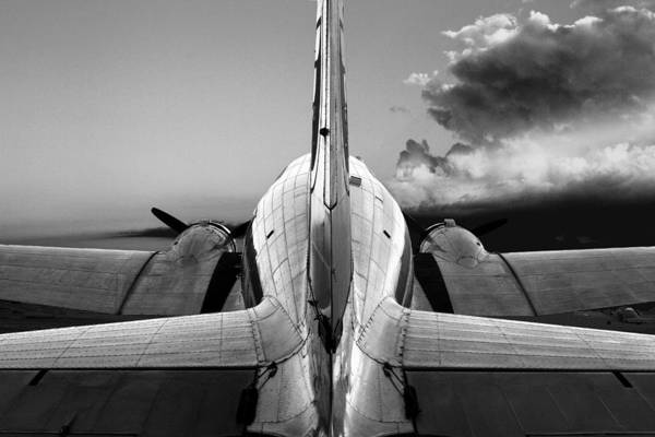 Vintage Airplane Photograph - Dc-3 Rear View 1 by Maxwell Amaro