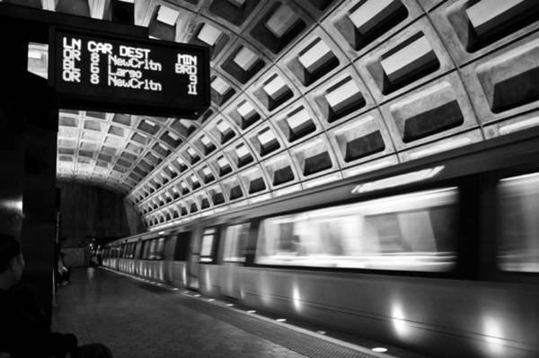 Federal Triangle Wall Art - Photograph - Dc Metro Station Bw by Dennis Ludlow