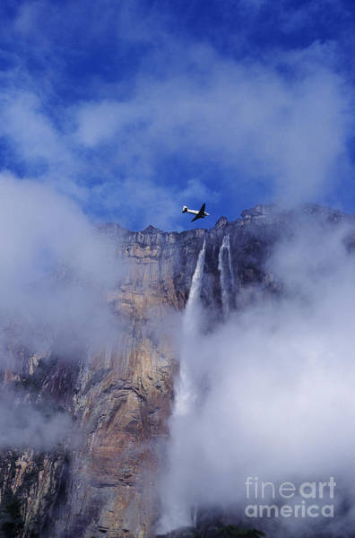 Photograph - Dc3 Overflying Angel Falls Venezuela by Dave Welling