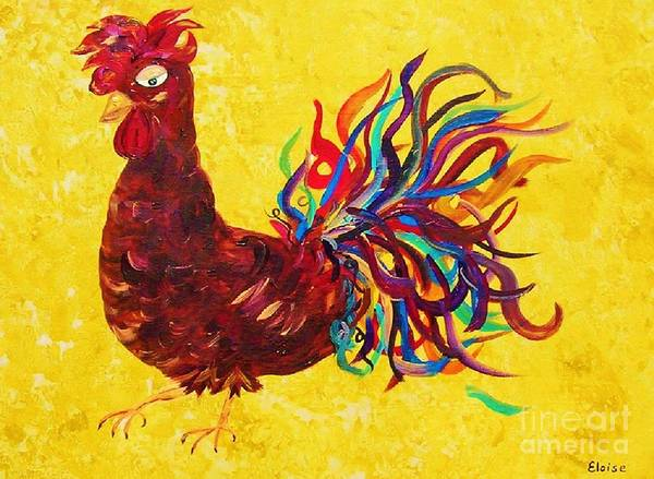 Church Yard Painting - De Colores Rooster by Eloise Schneider Mote