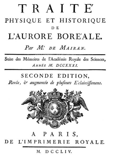 Aurore Photograph - De Mairan's Book On Aurorae by Royal Astronomical Society/science Photo Library