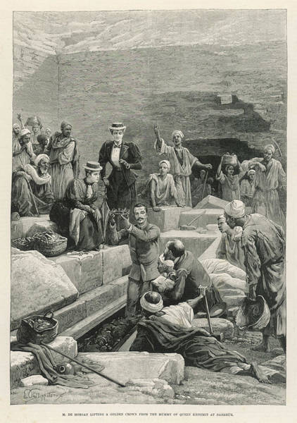 Mummy Drawing - De Morgan Lifting The Golden  Crown by  Illustrated London News Ltd/Mar