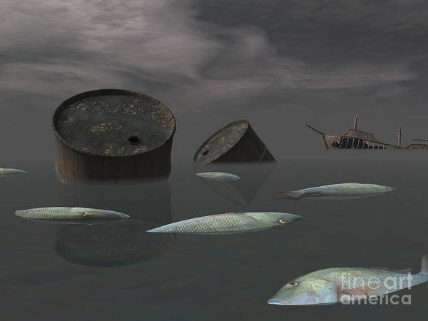Shipwreck Digital Art - Dead Fish And Oil Tanks In Polluted by Elena Duvernay