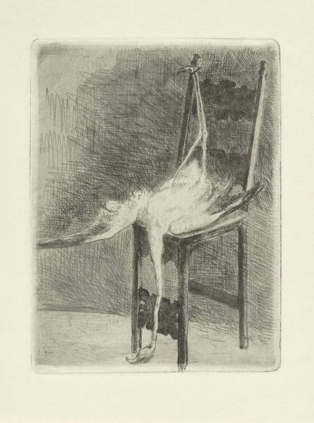 Flamingo Drawing - Dead Flamingo With Its Legs Bound To The Back Of A Chair by Adriaan Pit