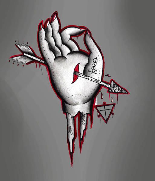 Tattoo Flash Painting - Dead Hand by Gus TripleZero