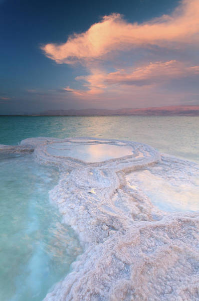 Dead Sea Shallow Waters At Sunset Art Print