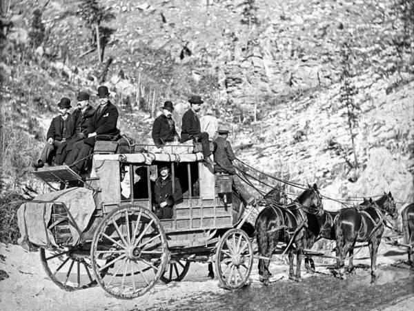 Stagecoach Photograph - Deadwood Stagecoach In Winter 1889 by Daniel Hagerman