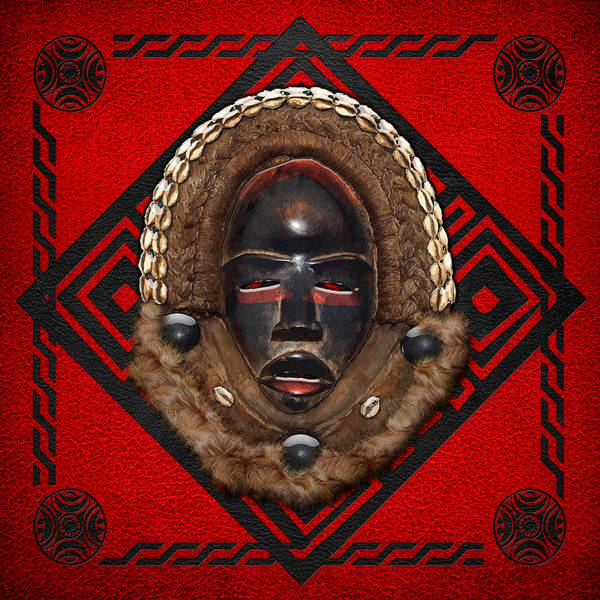 African Tribal Digital Art - Dean Gle Mask By Dan People Of The Ivory Coast And Liberia On Red Leather by Serge Averbukh