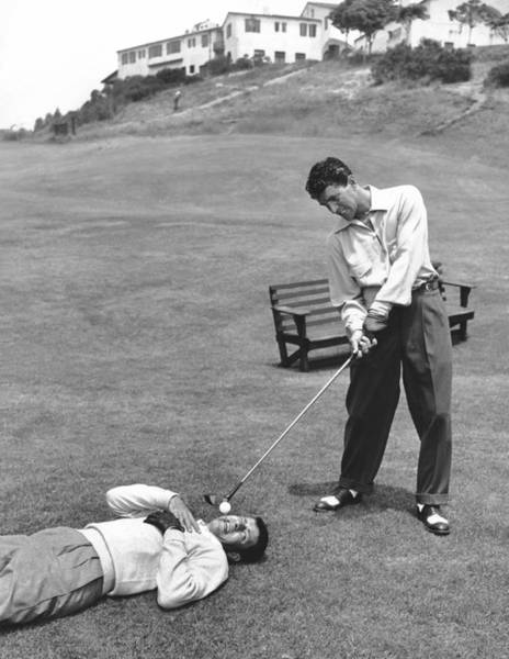 Golf Photograph - Dean Martin & Jerry Lewis Golf by Underwood Archives