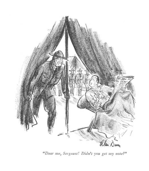 Officials Drawing - Dear Me, Sergeant! Didn't You Get My Note? by Alan Dunn