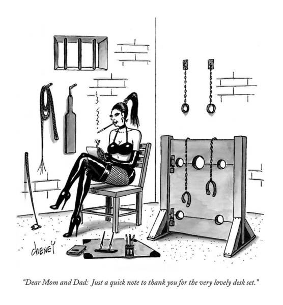 Dominatrix Drawing - Dear Mom And Dad:   Just A Quick Note To Thank by Tom Cheney