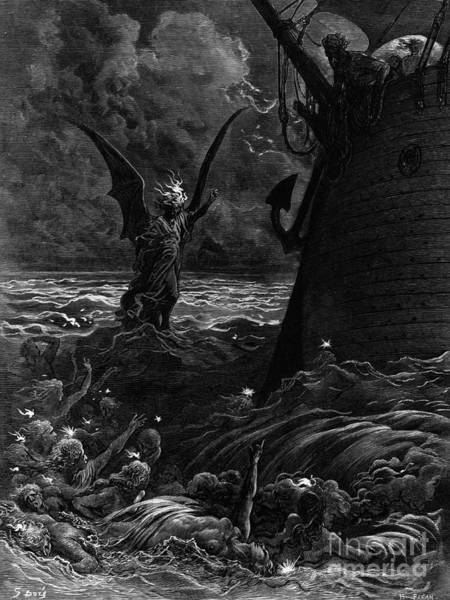 Illustrated Drawing - Death-fires Dancing Around The Becalmed Ship by Gustave Dore