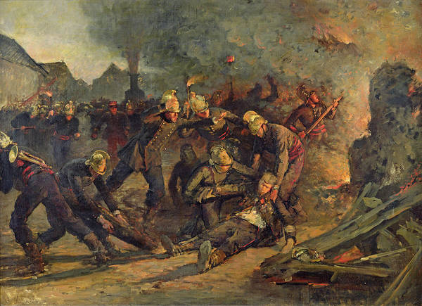 Firemen Photograph - Death Of Lt. Col. Froidevaux 1850-87 Of The Paris Fire Brigade, 1887 Oil On Canvas by Emile Renard