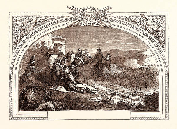 Galicia Drawing - Death Of Sir John Moore At The Battle Of Corunna by Spanish School