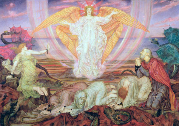 Painting - Death Of The Dragon by Evelyn De Morgan