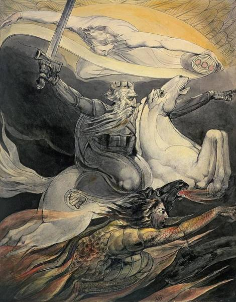 Life After Life Wall Art - Painting - Death On A Pale Horse, C.1800 by William Blake