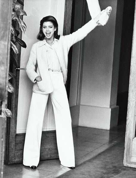Curtain Photograph - Debbie Dickinson Wearing A Chanel Ensemble by Arthur Elgort