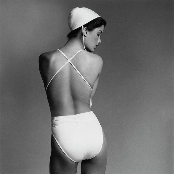 Sports Photograph - Debbie Dickinson Wearing A Kamali Bathing Suit by Francesco Scavullo