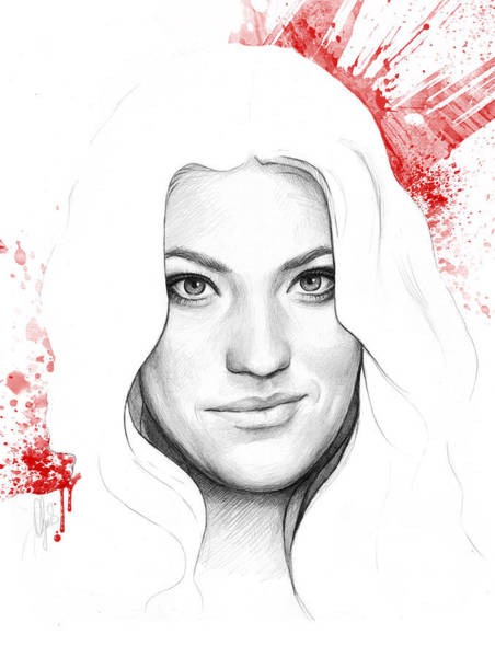 Red Drawing - Debra Morgan Portrait - Dexter by Olga Shvartsur