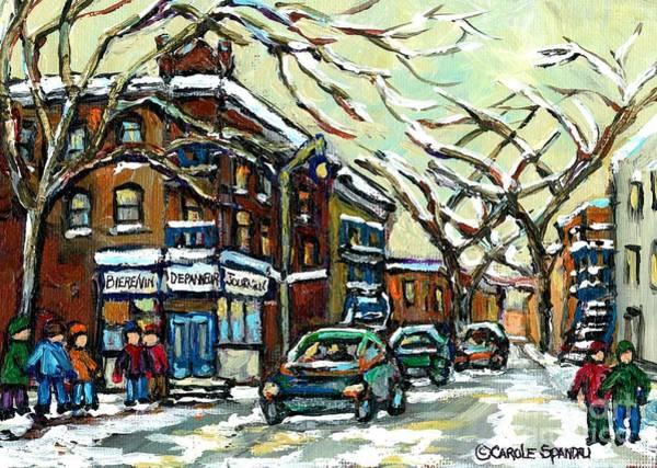 Painting - Debullion Street Corner Depanneur Winter Scene Painting January Montreal Memories Carole Spandau Art by Carole Spandau