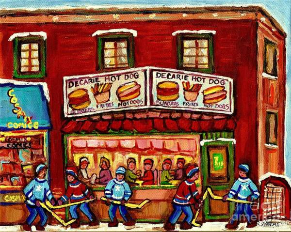 Montreal Street Scene Painting - Decarie Hot Dog Restaurant Cosmix Comic Store Montreal Paintings Hockey Art Winter Scenes C Spandau by Carole Spandau