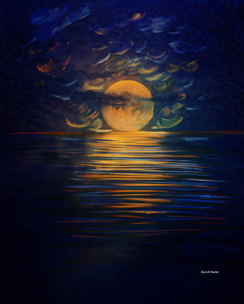 Wall Art - Painting - December Full Moon Peace Over The Ocean by Angela Stanton