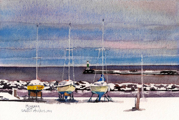 Lake Superior Painting - December In Grand Marais by Spencer Meagher