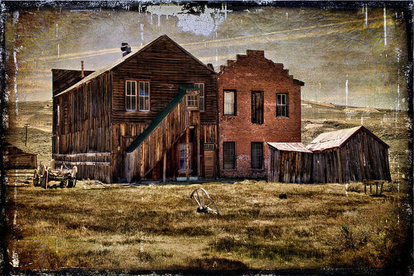 Bodie Ghost Town Wall Art - Photograph - Dechambeau Hotel And I.o.o.f. Building - Textured by Lana Trussell