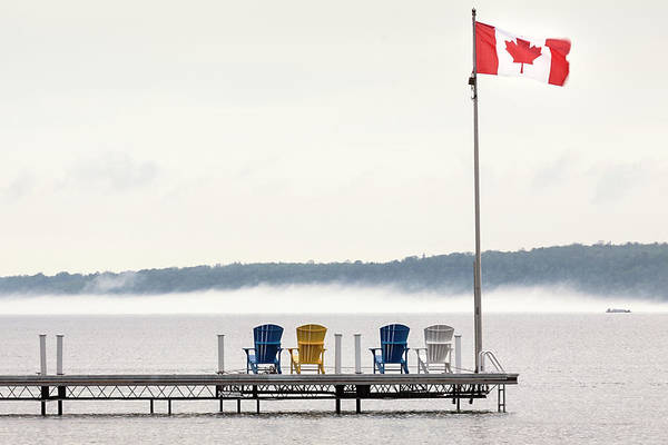 Deck Chair Photograph - Deck Chairs Canadian Flag by Scott Young Photographer