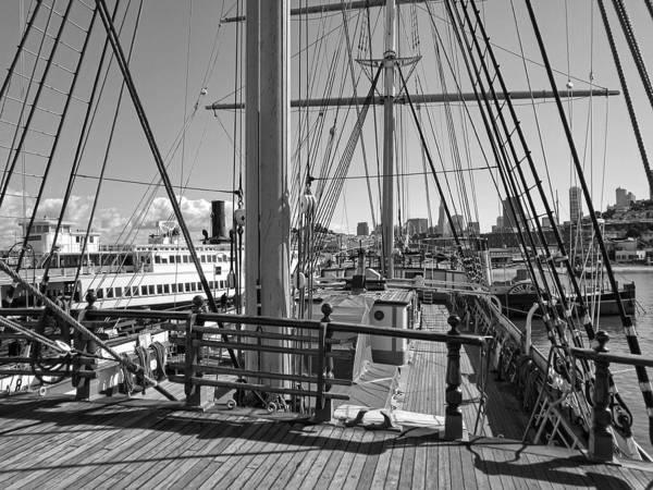 Aft Photograph - Deck Of Balclutha 3 Masted Schooner - San Francisco by Daniel Hagerman
