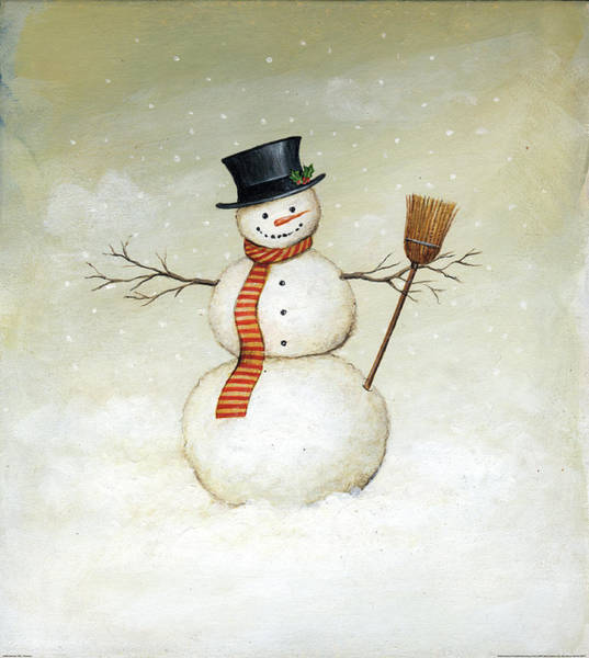 Winter Holiday Painting - Deck The Halls - Snowman by David Carter Brown