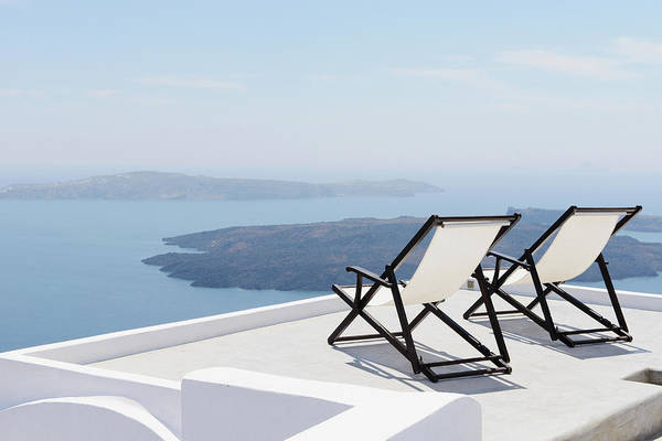 Lounge Chair Photograph - Deckchairs, Imerovigli, Santorini by Cultura Rm Exclusive/matt Dutile