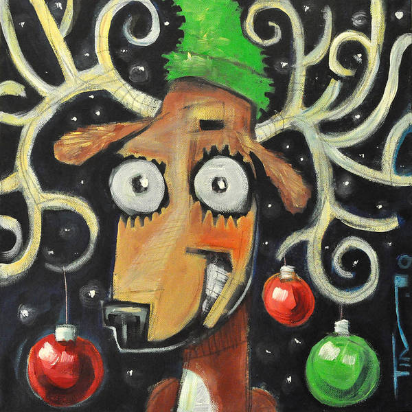 Painting - Decked Out Reindeer by Tim Nyberg