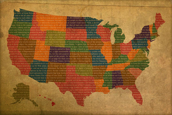 Map Of United States Mixed Media - Declaration Of Independence Word Map Of The United States Of America by Design Turnpike